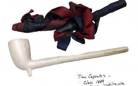A Bates peace pipe found in Muskie Archives