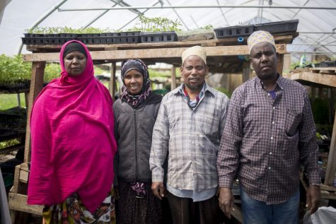 New Roots farmers Seynab Ali, Batula Ismail, and Abdi and Mohammed Abukar.