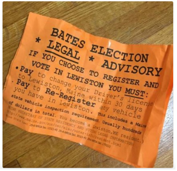 These fliers were dispersed around the Bates College campus early Sunday
