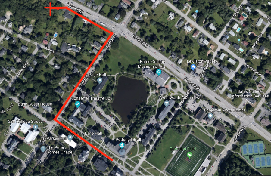Map of campus and surrounding area showing how to get to the Bates garden on Russel St.