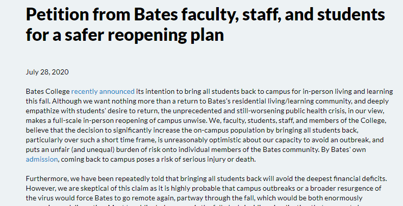 Bates Solidarity Petition Demands A Safer Reopening Plan