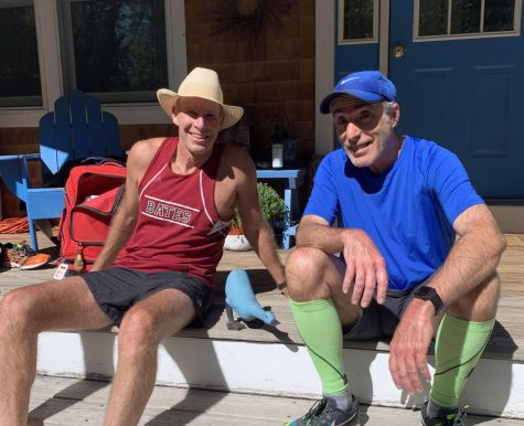 Paul Hammond '82 and Albert Waitt '83 relaxing pre-race. Hammond has raced every Alumni Meet except for one since his graduation.