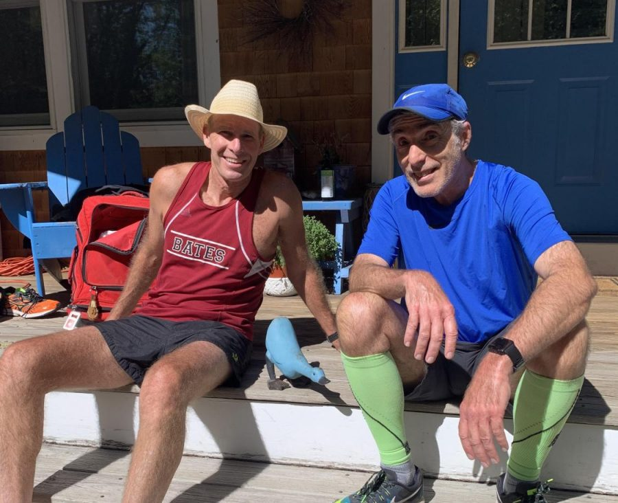 Paul Hammond '82 and Albert Waitt '83 relaxing pre-race. Hammond has raced every Alumni Meet except for one since his graduation.