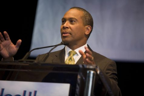Deval Patrick spoke about healthcare at the Democratic Convention in 2008 where Barack Obama was formally nominated as the Democratic presidential nominee.