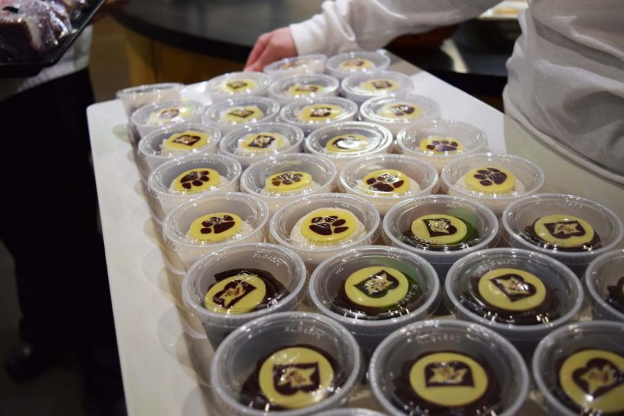 Close up of the Bobcat cupcakes. The emblems on top were edible!