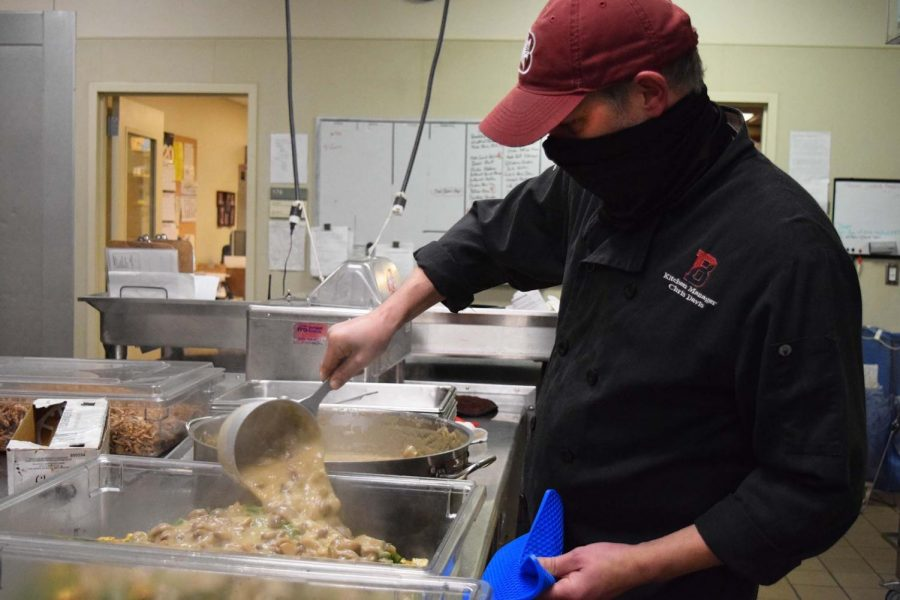 Preparations were quicker this year than normal. Chris Davis, the kitchen manager, helped finish the last few trays of green bean casserole.