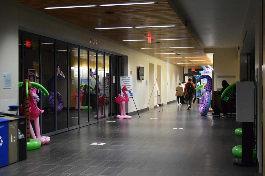 Inflatables decorated the halls and dining area of Commons. Students were allowed to take them home at the end of the night.