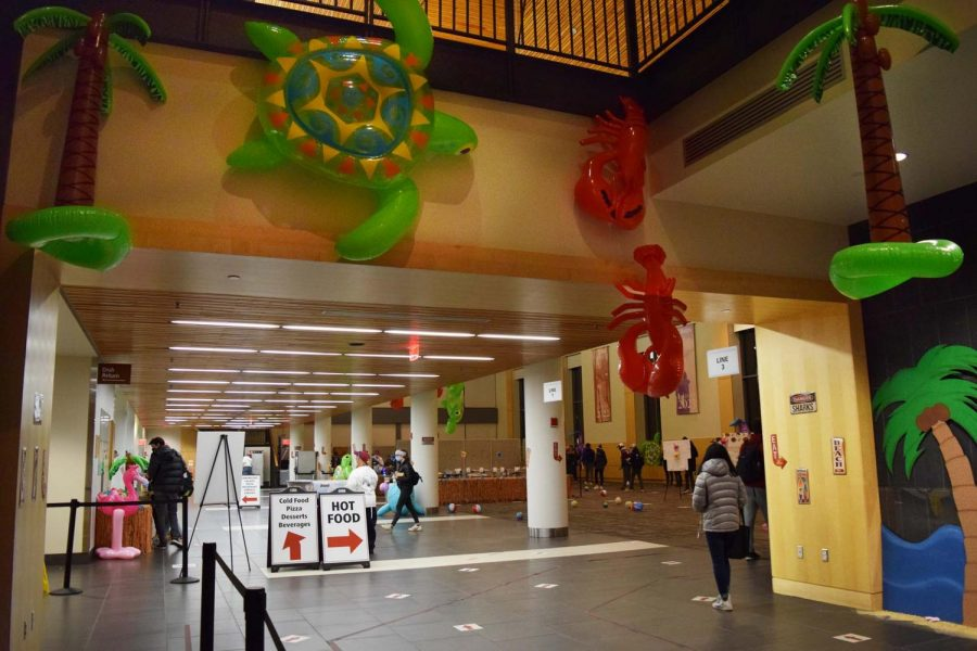Blow-up floaties were hung from second-floor Commons.