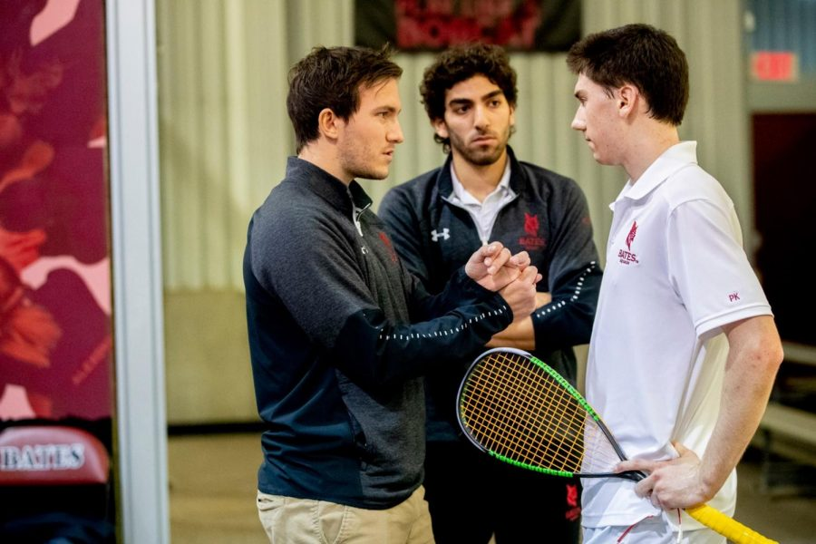 Coach Reinhold Hergeth, left, said the squash teams will focus on building strength and endurance outside of the courts this season, while still putting in some court time.