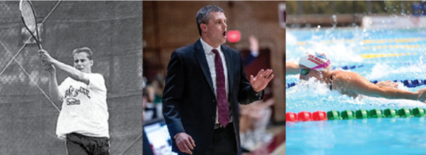 Left to right: Tennis Coach Paul Gastonguay '89, Men's Basketball Coach Jon Furbush '05, and Swimming and Diving Associate Coach Vanessa Williamson '05.