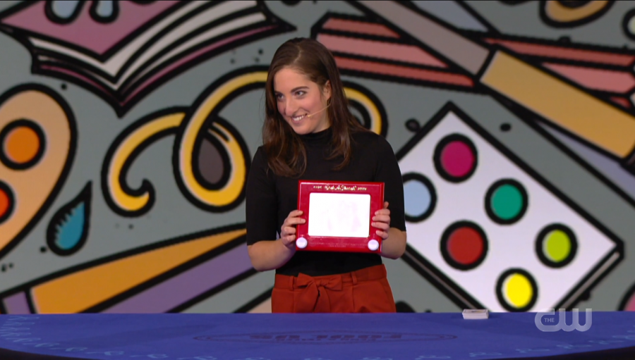 Abby Segal '23 created her own unique magic trick using a classic children's toy — the etch a sketch.