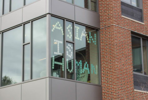 "Following the attacks on AAPI-owned massage parlors in Atlanta, a sign consisting of sticky notes reading ""Asian is Human"" was installed on the Chu Hall windows."