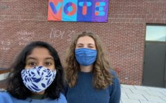 Ashka Jhaveri '22, left, and Amalia Herren-Lage '22 led the Harward Center's effort to maximize student voting participation through Bates Votes, a non-partisan initiative. Their work resulted in more than 800 new voter registrations among Bates students.