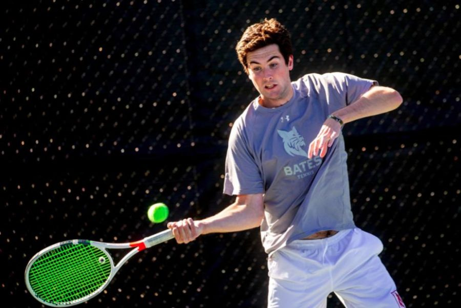 Men's tennis demonstrated their resiliency after a tough outing the day prior at Trinity College (Note: photo taken prior to the COVID-19 pandemic)