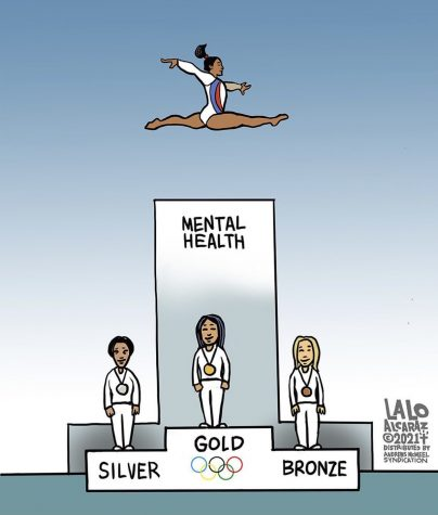 """Artist Lalo Alcaraz shared this cartoon to his Instagram with the caption """"Simone Biles wins again!"""""""