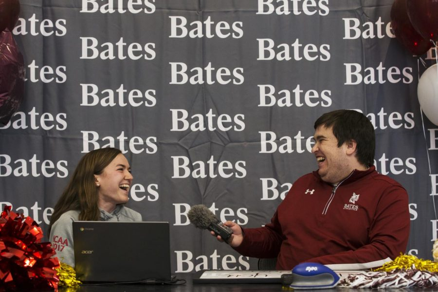 Bates+Communications+Office+Assistant+Sports+Information+Director+Aaron+Morse+reacts+while+interviewing+Sarah+Rothmann+%E2%80%9819%2C+of+Andover%2C+Mass.%2C+as+part+of+the+student-athlete+interviews+during+the+Its+a+Great+Day+to+be+a+Bobcat+livestream.