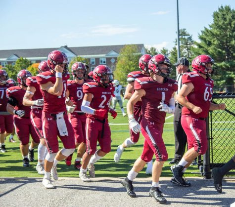 The Bobcats leave the field at halftime in their game against Amherst, when they were up 17-14.