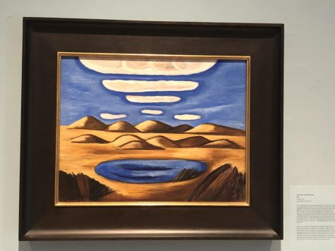 """Hartley was a world traveler as he traveled to Europe, Mexico, and the Caribbean islands. His painting Lost Country-Petrified Sand Hills 1932 was described in the exhibit as """"Mexico through the lens of the New Mexico Collections."""" Hartley painted twenty pictures in Mexico. (Oil on Masonite, Vilcek Collection 2018.01.01)"""