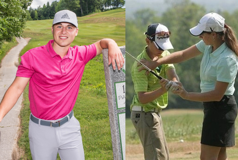 On left: Brendon Croteau, who previously played at the University of Southern Maine will take charge of the men's golf program.  On right: Abby Spector, the new head coach of the women's golf program, has a series of impressive credentials.